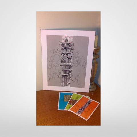 Purdown Tower Print on Grey by Lisa Malyon