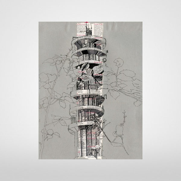 Purdown Tower Print on Grey by Lisa Malyon at The Bristol Shop