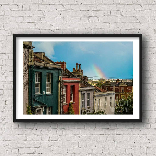 Rainbow Over Coloured Houses  - Photographic Print by Nina Allwood | The Bristol Shop