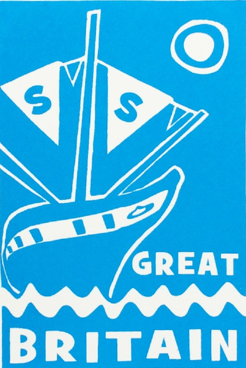 ss Great Britain Limited Edition Blue Screen Print Detail by Lou Boyce at The Bristol Shop
