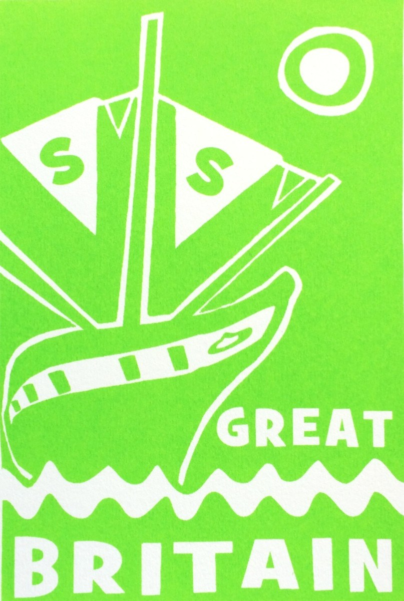 ss Great Britain Limited Edition Green Screen Print Detail by Lou Boyce at The Bristol Shop