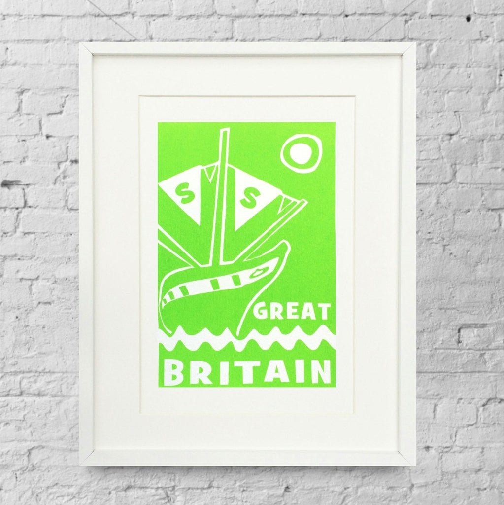 ss Great Britain Limited Edition Green Screen Print by Lou Boyce at The Bristol Shop