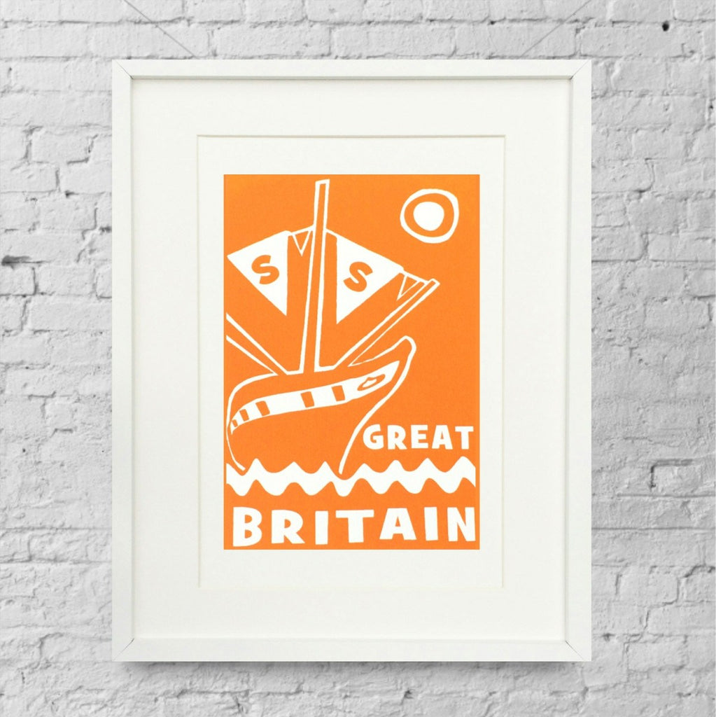 ss Great Britain Limited Edition Orange Screen Print by Lou Boyce at The Bristol Shop