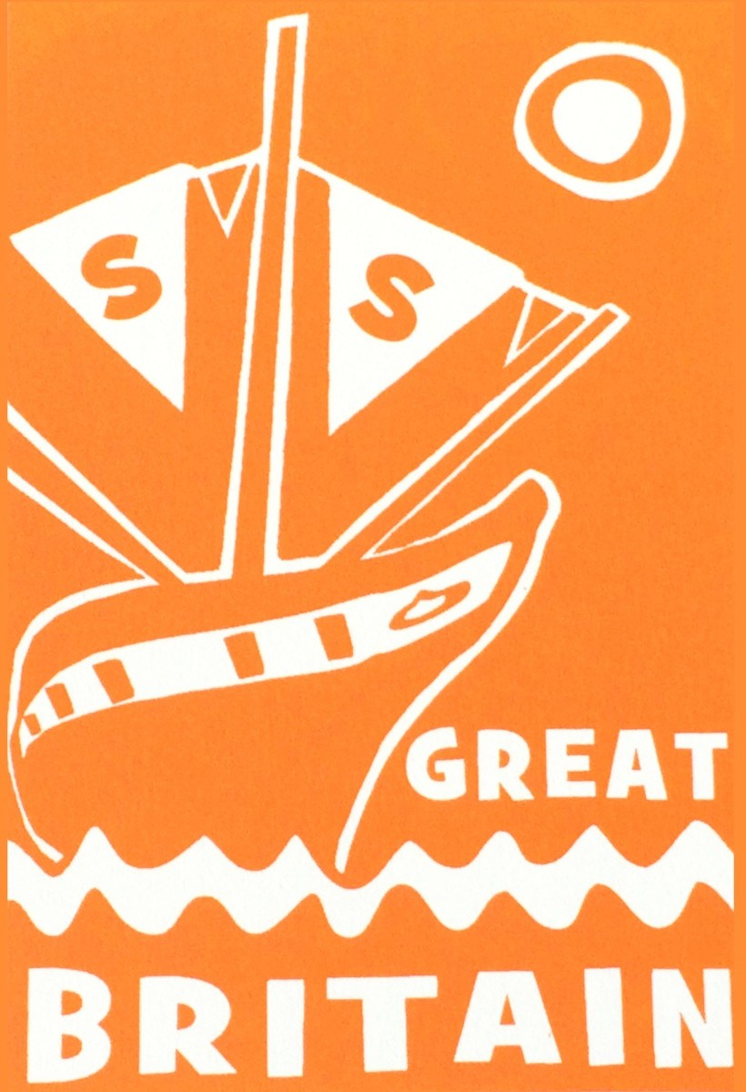 ss Great Britain Limited Edition Orange Screen Print Detail by Lou Boyce at The Bristol Shop