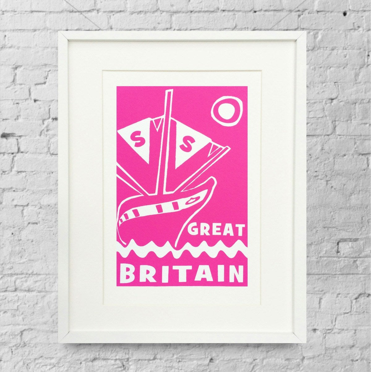 ss Great Britain Limited Edition Magenta Screen Print by Lou Boyce at The Bristol Shop