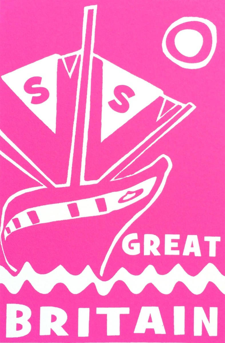 ss Great Britain Limited Edition Magenta Screen Print Detail by Lou Boyce at The Bristol Shop