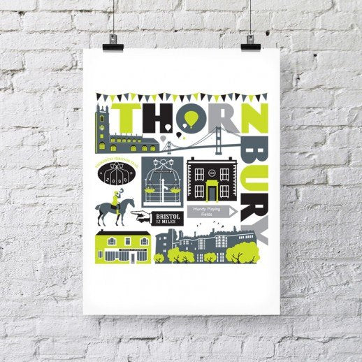 Thornbury Typographic Print (A3) by Susan Taylor Art | The Bristol Shop