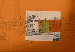 Underfall Yard on Orange Print by Lisa Malyon