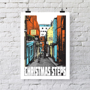 Christmas Steps Bristol A4 or A3 Print by Susan Taylor | The Bristol Shop
