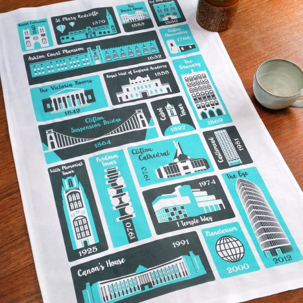 Bristol Places Tea Towel by Susan Taylor Art | The Bristol Shop