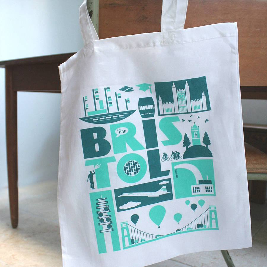 City of Bristol Typographic Tote Bag by Susan Taylor Art