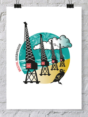 Bristol Harbourside Cranes Print, A4 or A2 Print by Susan Taylor | The Bristol Shop