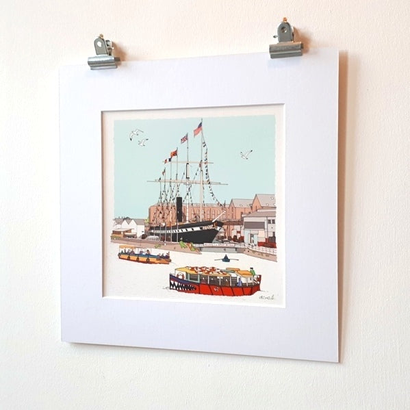 Floating Bristol – Architectural illustration Giclée Print - Mounted- by dona B drawings Dona B drawings