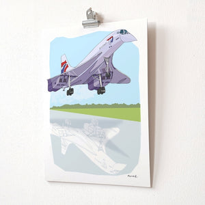 Concorde A4 Giclée Print by dona B drawings | The Bristol Shop