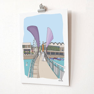Pero's Bridge A4 Giclée Print by dona B drawings | The Bristol Shop