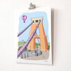 Clifton Suspension Bridge A4 Giclée Print by dona B drawings | The Bristol Shop