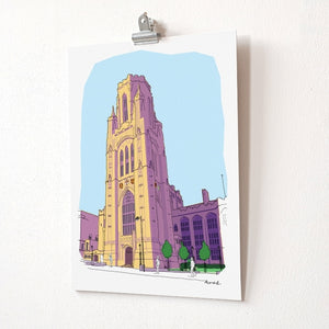 Wills Memorial Building A4 Giclée Print by dona B drawings | The Bristol Shop