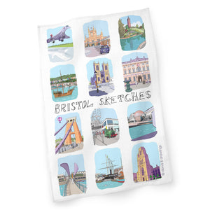 Bristol Sketches 12 Tea Towel by Dona B drawings | The Bristol Shop