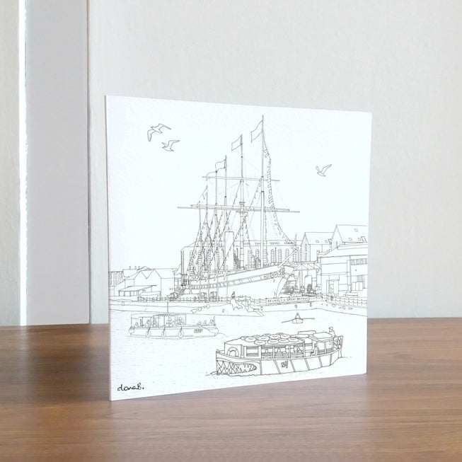 ss Great Britain 'Colour in' Greetings Card by Dona B drawings | The Bristol Shop