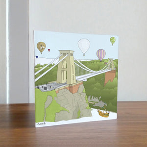 Front - Clifton Suspension Bridge Greetings Card by dona B drawings