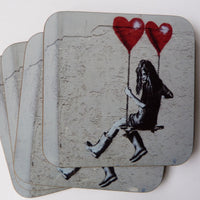 "JPS Street Art ""Girl on a Swing with Balloons"" Coaster by Eclectic Gift Shop"