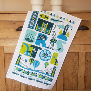 Bristol Icons Tea Towel by Susan Taylor Art | The Bristol Shop