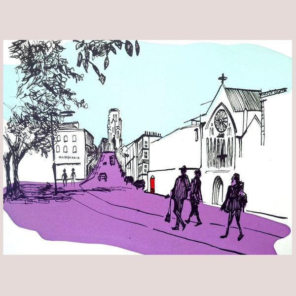 Park Street Promenade - Hand Pulled Screen Print by Amy Hutchings