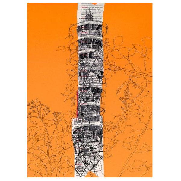 Purdown Tower Print on Orange by Lisa Malyon