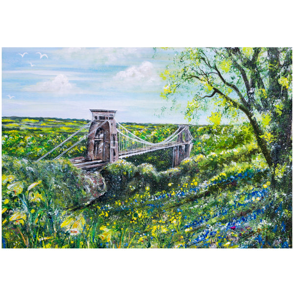 Clifton Suspension Bridge and Daffodils - A5 - A1 Giclée Print by Lynette Bower