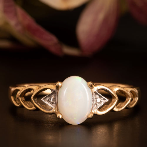 Vintage Opal and Diamond Heart Ring for sale online vintage jewelry shop - free shipping worldwide