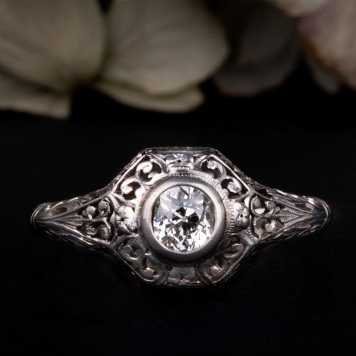 Antique Art Deco Diamond Solitaire Ring 0.75 CT for sale online engagement ring shop - free global delivery