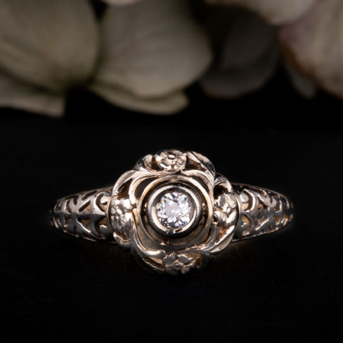 Antique Art Deco Floral Diamond Solitaire Engagement Ring for sale online jewelry shop - free worldwide shipping