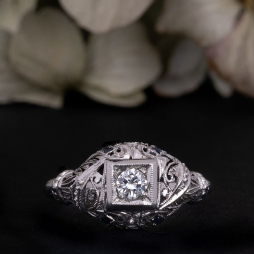 Antique Art Deco Diamond and Sapphire Engagement Ring for sale online antique engagement ring shop