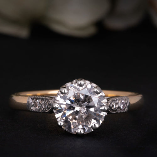 Antique Art Deco 1.3 CT Diamond Solitaire Engagement Ring for sale online engagement rings shop