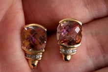 Load image into Gallery viewer, Vintage Mystic Topaz and Diamond Stud Earrings - Pretty Different Shop