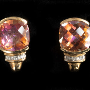 Vintage Mystic Topaz and Diamond Stud Earrings - Pretty Different Shop