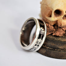 Load image into Gallery viewer, Antique Style Enamel Memento Mori Skull Ring - Pretty Different Shop