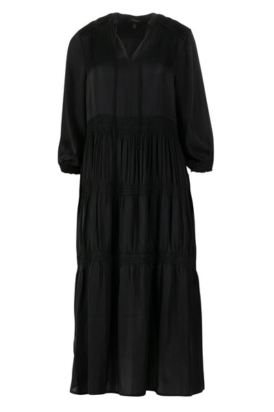Verge Camelot Dress - Midi Summer Dress with Sleeves in Black 6904