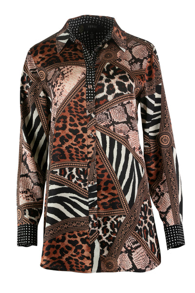 Verge Feline Shirt 6946JX Animal print shirt with collar shop online
