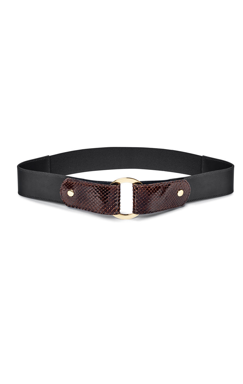 Paula Ryan Adjustable Trim Belt in Chocolate and Gold 7669 Paula Ryan Stockist Signature of Double Bay Fashion online Boutique