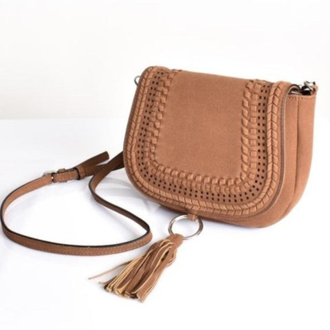 Suede Tassle Cross Body Bag Tan