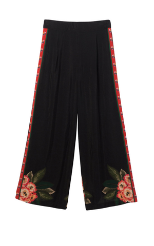 Desigual Black 7/8 wide leg pant with print detail