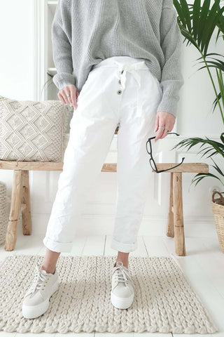 White linen Jogger Pant with Buttons and Tie Waist