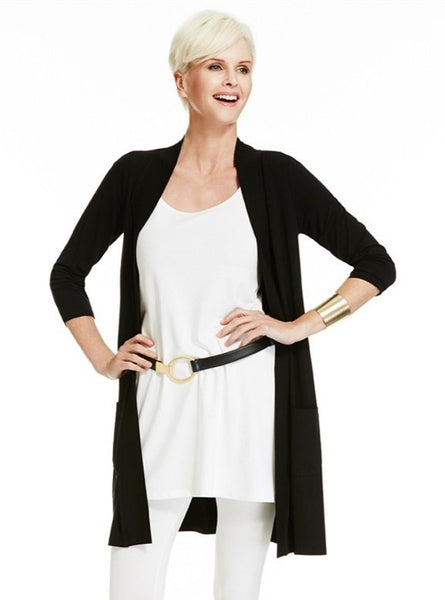 Paula Ryan Easy Fit Pocketed ¾ Sleeve Cardigan 6973 Signature of Double Bay fashion online Shop Paula Ryan online now