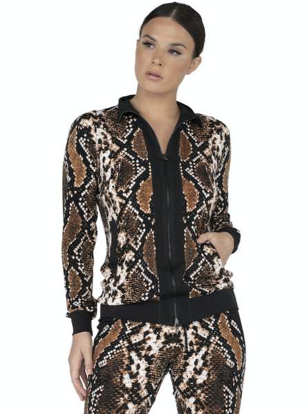 Mock Neck Zip Fully Lined Jacket Amy Print J12872L