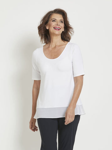 Paula Ryan Sheer Hem Half Sleeve Top 8172 Shop Online Australia Sydney