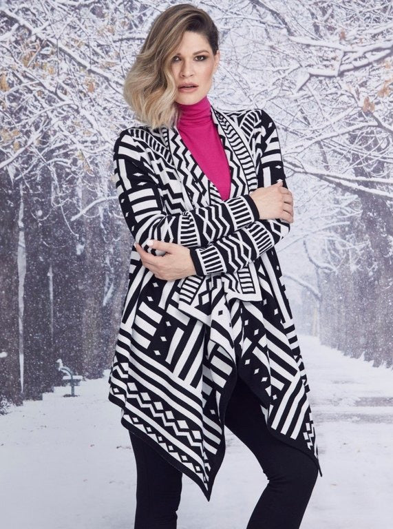 Paula Ryan Jacquard Wrap Jacket black and white 8047 stockist online Australia