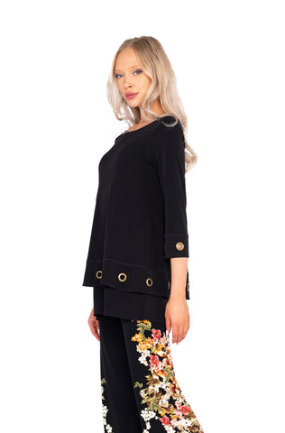 EVA VARRO  Black Tunic with Brass Ring detail