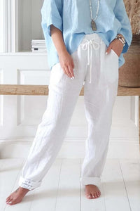 Bypias Relax White Linen Pant