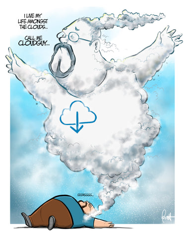 """CloudGuy"" DTNS 1/19/18 8.5 x 11 ArtProv Friday Print"